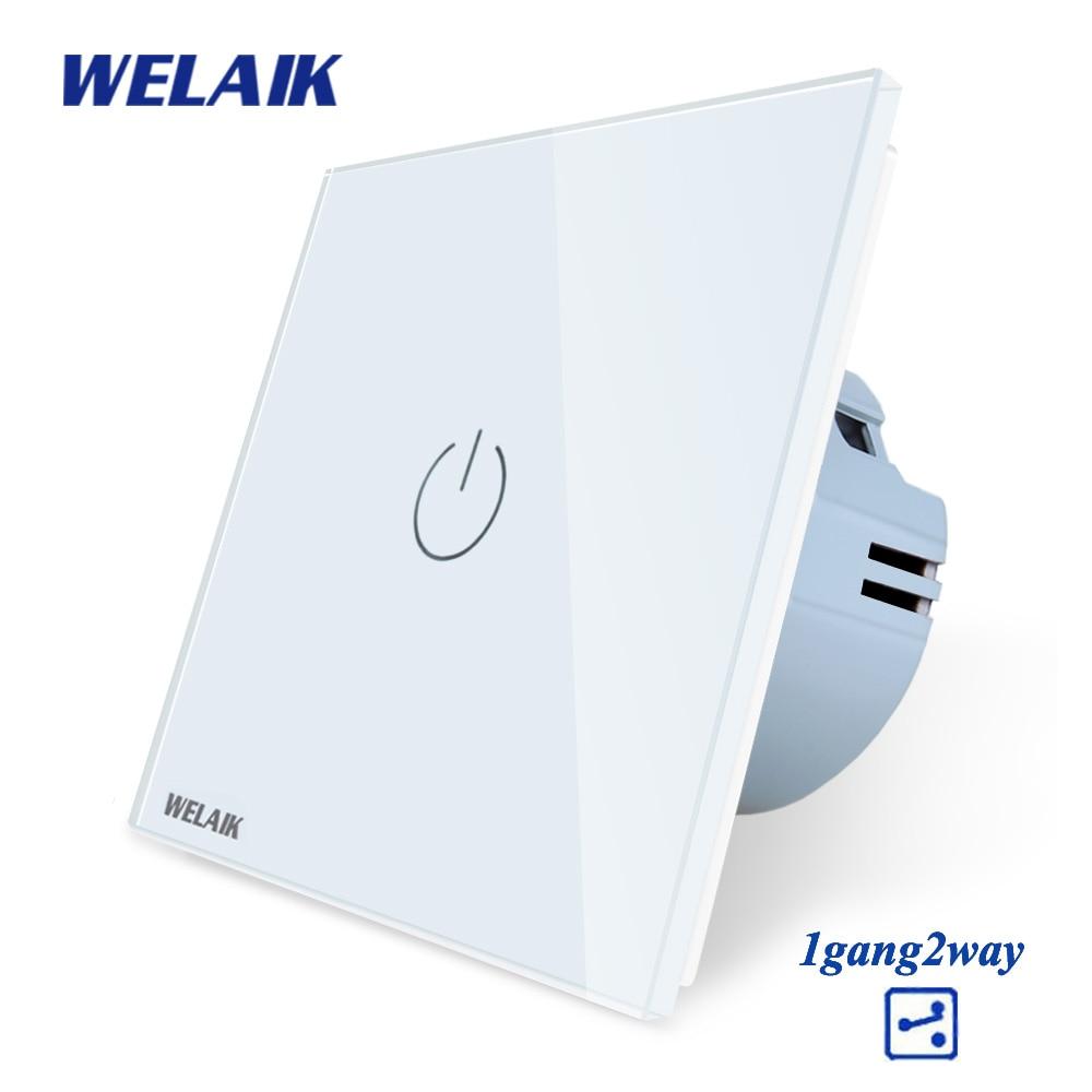 WELAIK Crystal-Glass-Panel-Switch-Wall-Switch EU-Touch-Switch Smart-Intelligent Light-Switch 1gang-2way AC110~250V A1912CW/B