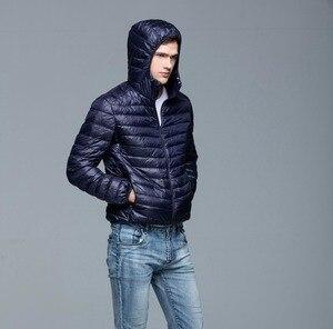 Image 5 - 男性パーカー冬ダウンコート90%白いアヒルダウンジャケット超光プラスサイズ冬ブランドダウンジャケット男性フード付き上着コート