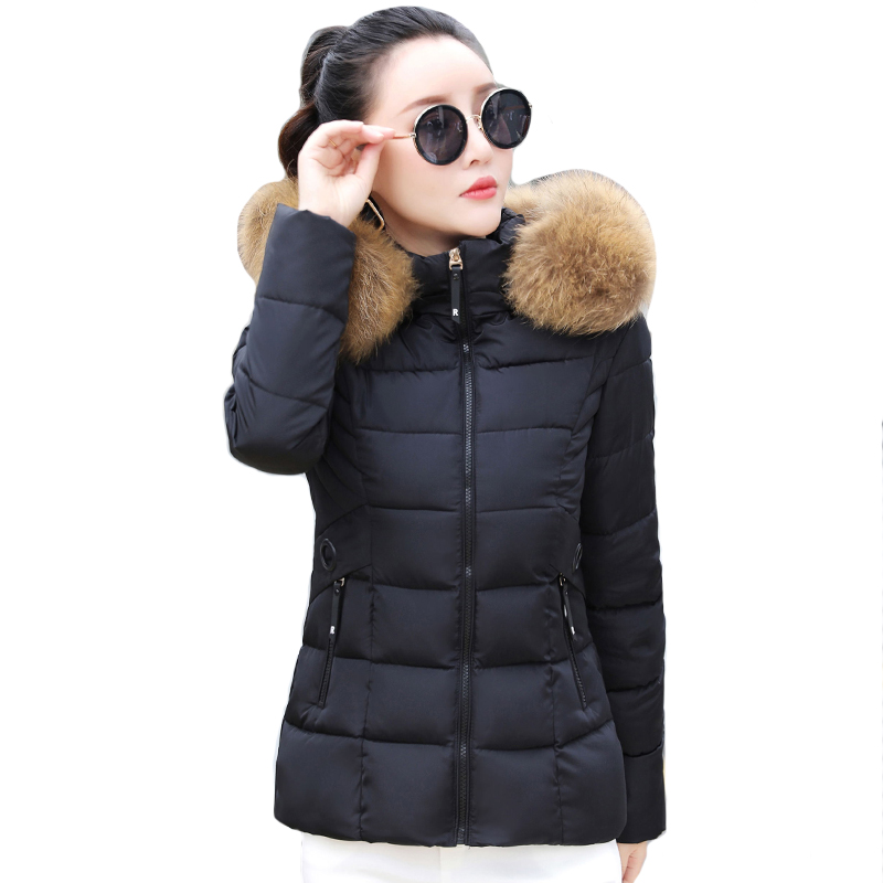 With Fur Hooded Women Winter Jacket Hooded Slim Womens Basic Jackets Outwear Female Coat Coats Chaqueta Mujer Invierno LJ0841