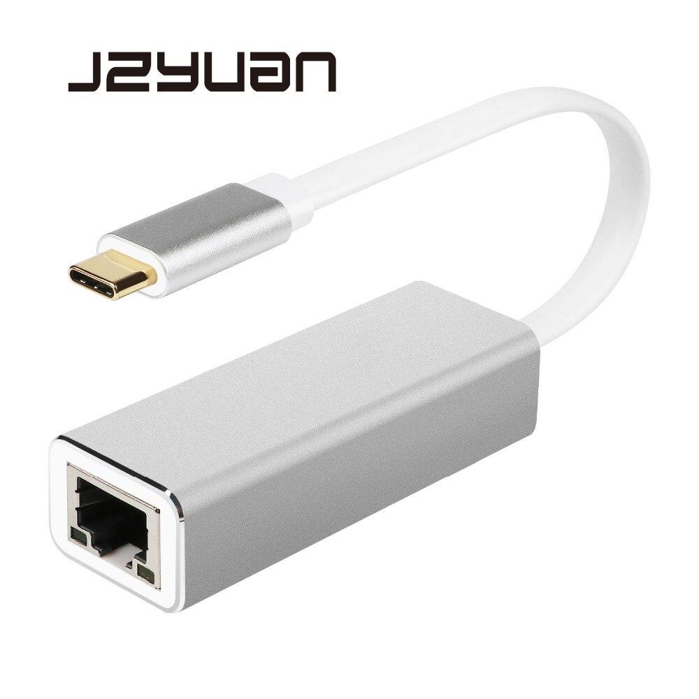 JZYuan Tipo C USB-C USB 3.0 a RJ45 LAN Adapter Gigabit Ethernet 10/100/1000 Mbps LAN Network Card Adapter Per MacBook ChromeBook
