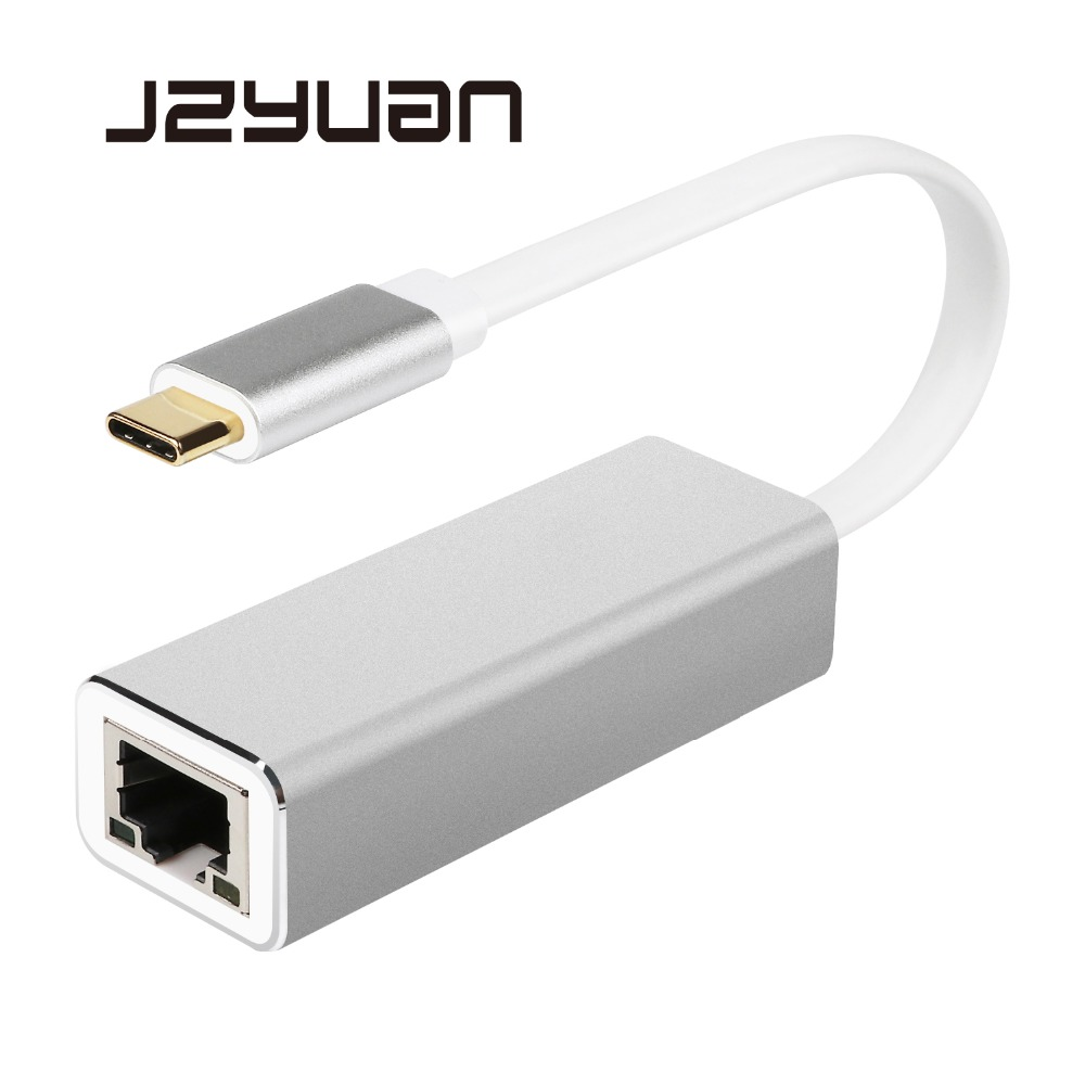 JZYuan Type C USB-C USB 3.0 to RJ45 LAN Adapter Gigabit Ethernet 10/100/1000Mbps LAN Network Card Adapter For MacBook ChromeBook wbtuo usb 3 0 to rj45 10 100 1000mbps gigabit lan ethernet network adapter card black