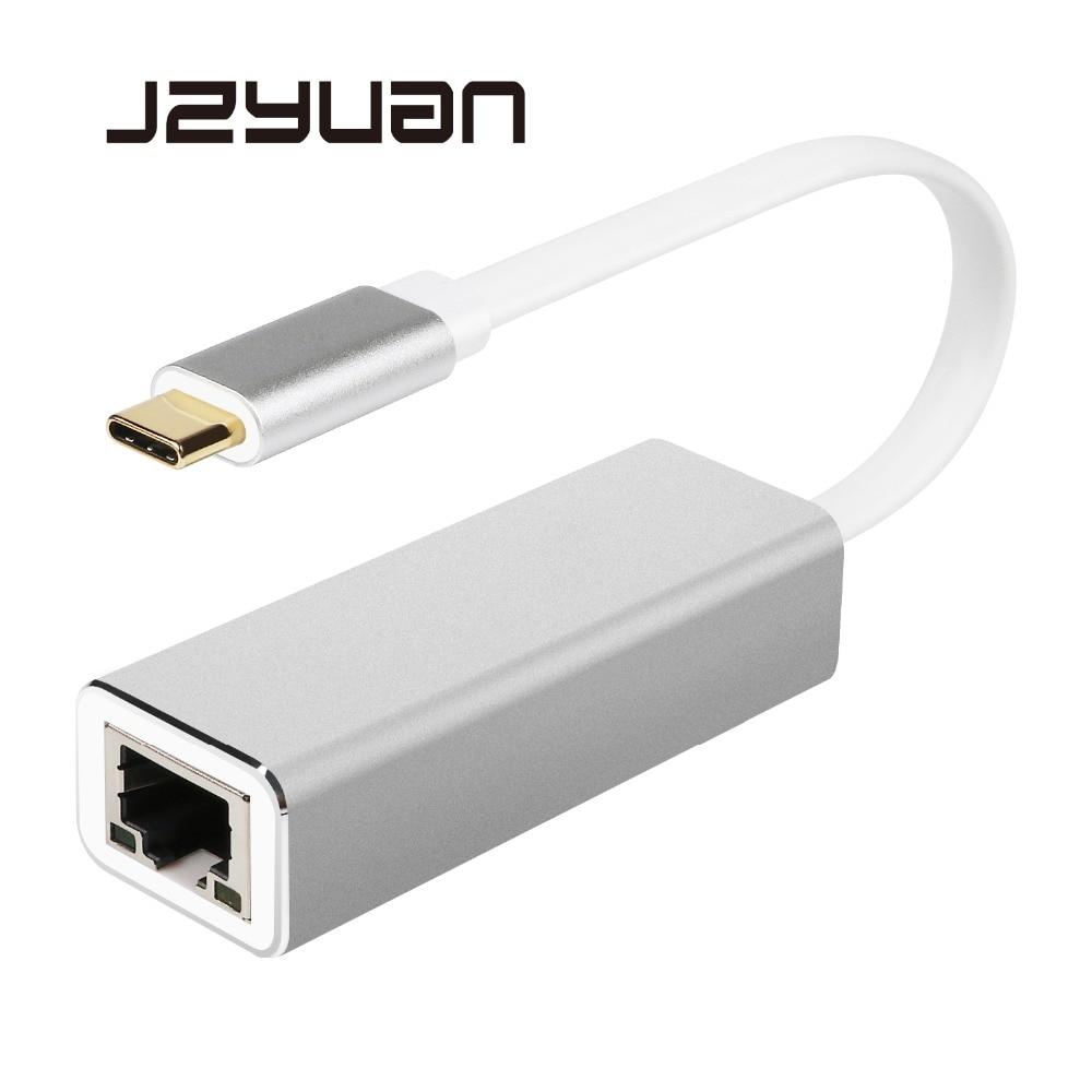 JZYuan tipo C USB-C USB 3,0 a RJ45 adaptador LAN Gigabit Ethernet 10/100/1000 Mbps LAN red tarjeta adaptador para MacBook ChromeBook