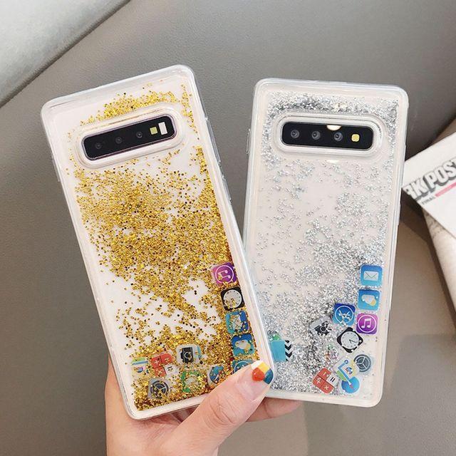 KISSCASE Glitter Liquid Quicksand Silicone Case For Samsung Galaxy S10 Plus App Icon Cover Coque For Samsung S10 Lite Case Funda