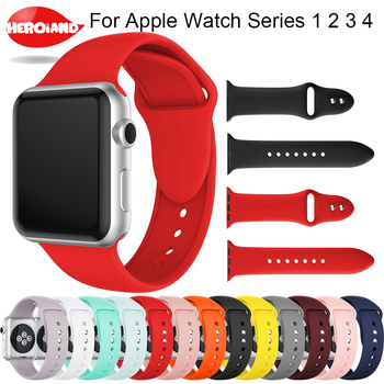 цена на New Soft Silicone Replacement Sport Band For Apple Watch Series 1/2/3 42mm 38mm Wrist Bracelet Strap for Watch 4 40mm 44mm Sport