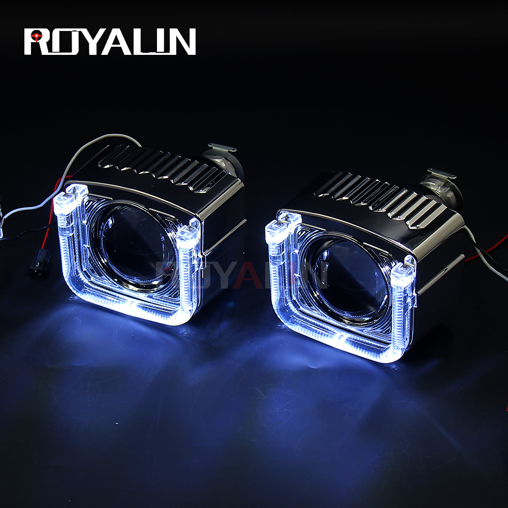 royalin led drl double angel eyes halo rings mini projector lens bi xenon h1 headlight shrouds white red h4 h7 auto lamps diy ROYALIN DRL Angel Eyes U Type LED Masks White Red Blue Yellow Mini Projector Lens H1 Bi Xenon HID Car Styling For H1 H4 H7 Lamp