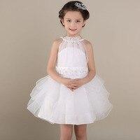Costume bow high-grade children's wedding dress sweet girl princess dresses kids Tutu Dress white