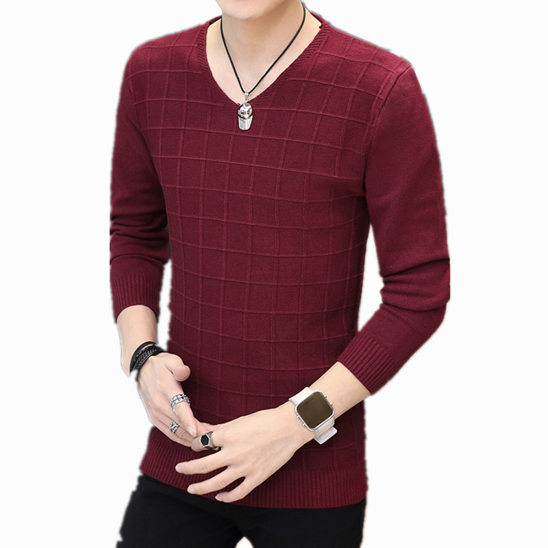 New Sweater Men Long Sleeve Square Pattern Pullovers Outwear Man V-Neck Sweaters Tops Youth Solid Fit Knitting Clothing