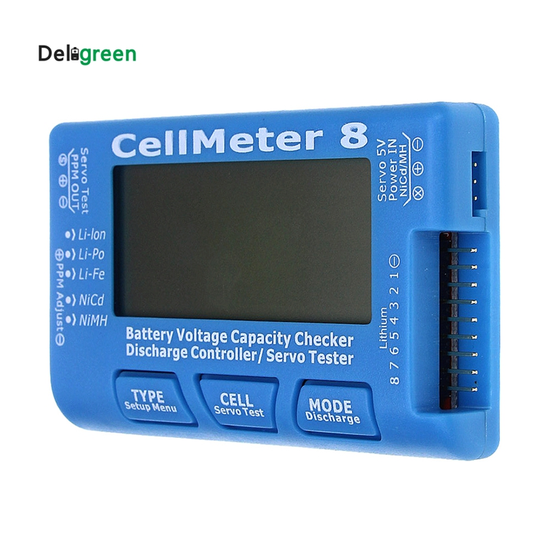 Deligreen AOK CellMeter 8 con luz de fondo y descarga multifuncional Digital Power Servo Checker Tester 2 S-8 s 8 M