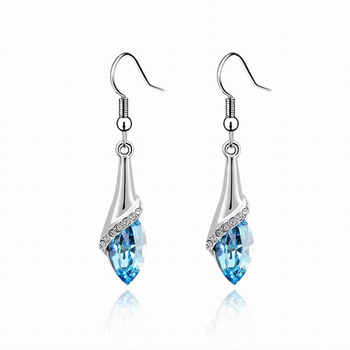 Women's Drop Crystal Earrings Earrings Jewelry Women Jewelry Metal Color: E019 Sky Blue