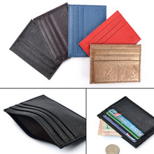 Super Slim Soft Genuine Leather Card Holder Card Men Wallets Women Purse Case Credit Card Organizer(China)