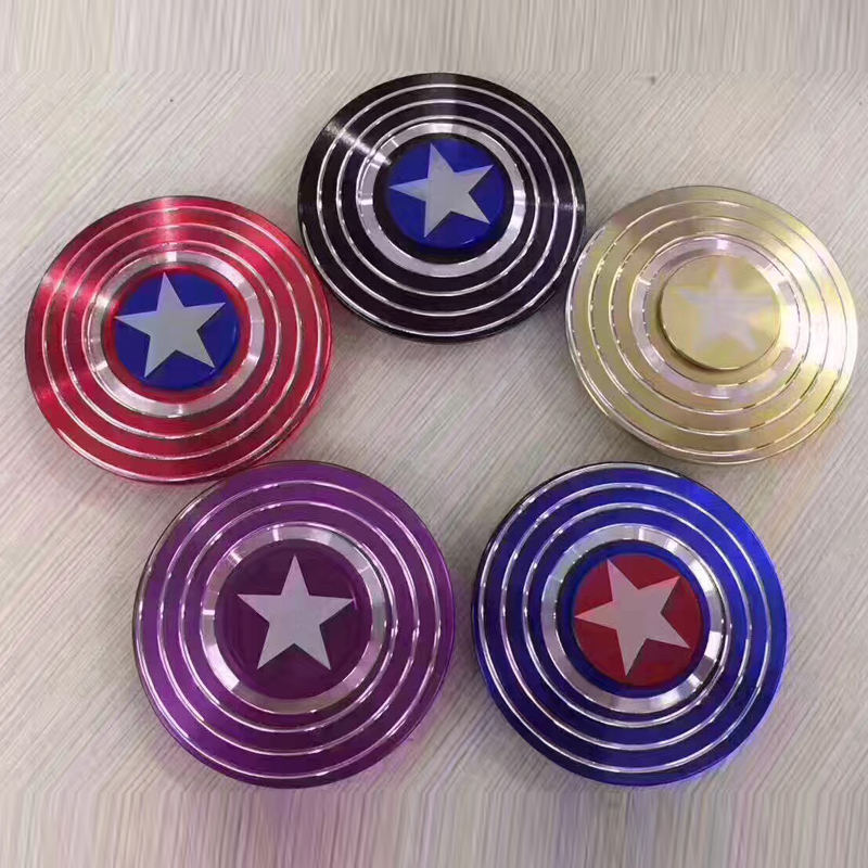New 100Pcs/Lot Captain America's Finger Spinner Aluminium Alloy Metal Adults Anti Stress Toy Autism ADHD EDC Hand Spinner Gift