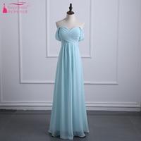 Light Sky Blue Bridesmaid Dresses 2017 A Line Chiffon Off The Shoulder Wedding Guest Dresses Vestidos