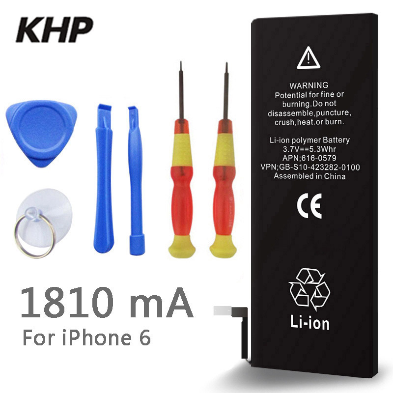 100 Original Brand KHP Phone Battery For Iphone 6 Real Capacity 1810mAh With Machine Tools Kit