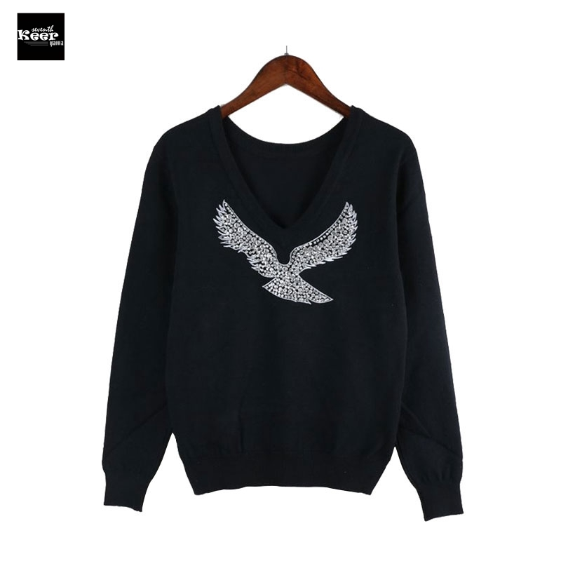 2018 Autumn New Fashion Runway Designer Women Sweaters V-Neck Beaded Eagle Diamond Pullovers Computer Knitted Pageant Sweater