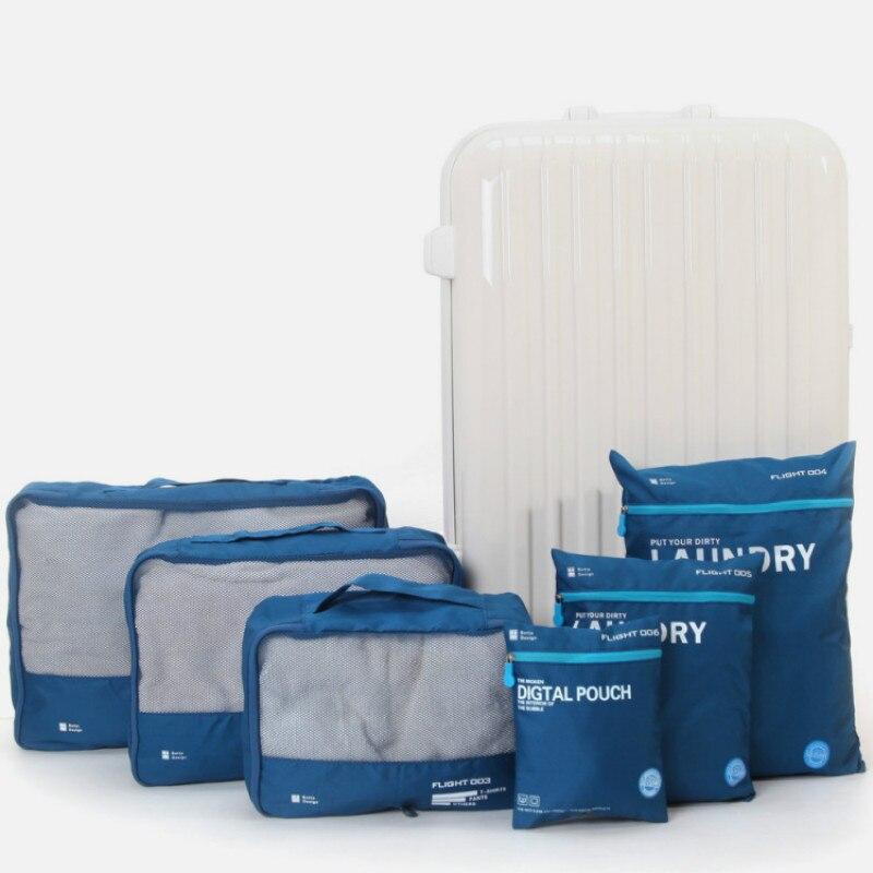 6pcs/set Waterproof Nylon Travel Accessories Package Receive Bag Clothes Luggage Korea  Mesh Suitcase