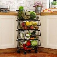 Utensílios de cozinha do agregado familiar cesta de armazenamento prateleira vegetal multi camada de aço inoxidável piso pé rack wf4021412|Cestos de armazenamento|   -