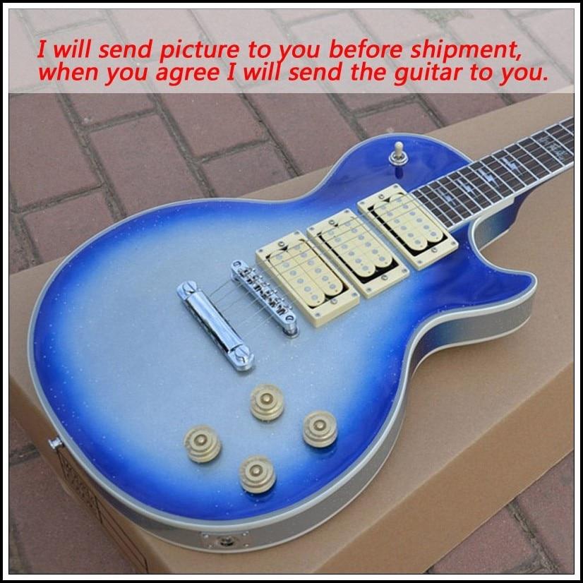 new brand custom shop blue silver burst color guitars instruments musical electric guitar free. Black Bedroom Furniture Sets. Home Design Ideas