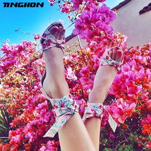 TINGHON Women High Heels Sandals Summer Thin flowers Gladiator Cross-Strap Shoes Ladies Sexy Party Wedding Lace Up