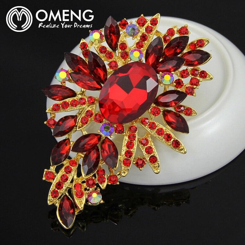 OMENG Newest Elegant Rhinestone Crystal Flower Brooch Pin Romantic Wedding  Bride Bridesmaid Rhinestone Jewelry OXZ013 a62122f12c4d