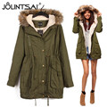 European Style 2017 Winter Coats Women Wadded Jackets Middle-long Fur Collar Thickening Hooded Ladies Down & Parkas Army Green