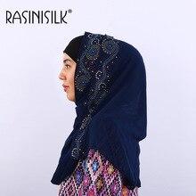 Luxury Rhinestone Muslim Scarf Hijabs Bubble Pearl Chiffon Women Turban Wrap Long Size Shawl Headscarf Plain Head 170x70cm