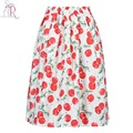 White Cute Cherry Print Midi Skirt Draped Elastic High Waist Brief A Line Skirts 2017 Summer New Fashion Casual Ladies Wear