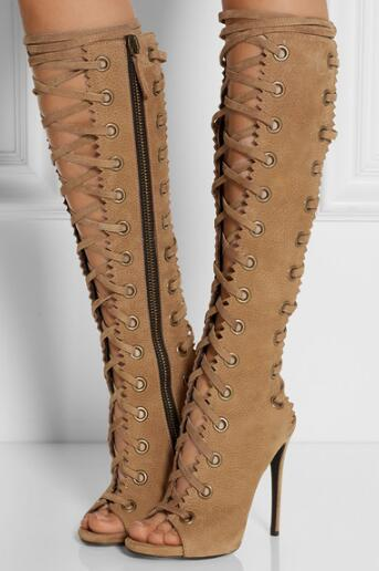 Summer new woman brown open toe cross-tied high heel knee high cool boots Ladies peep toe super high thin heel long boots