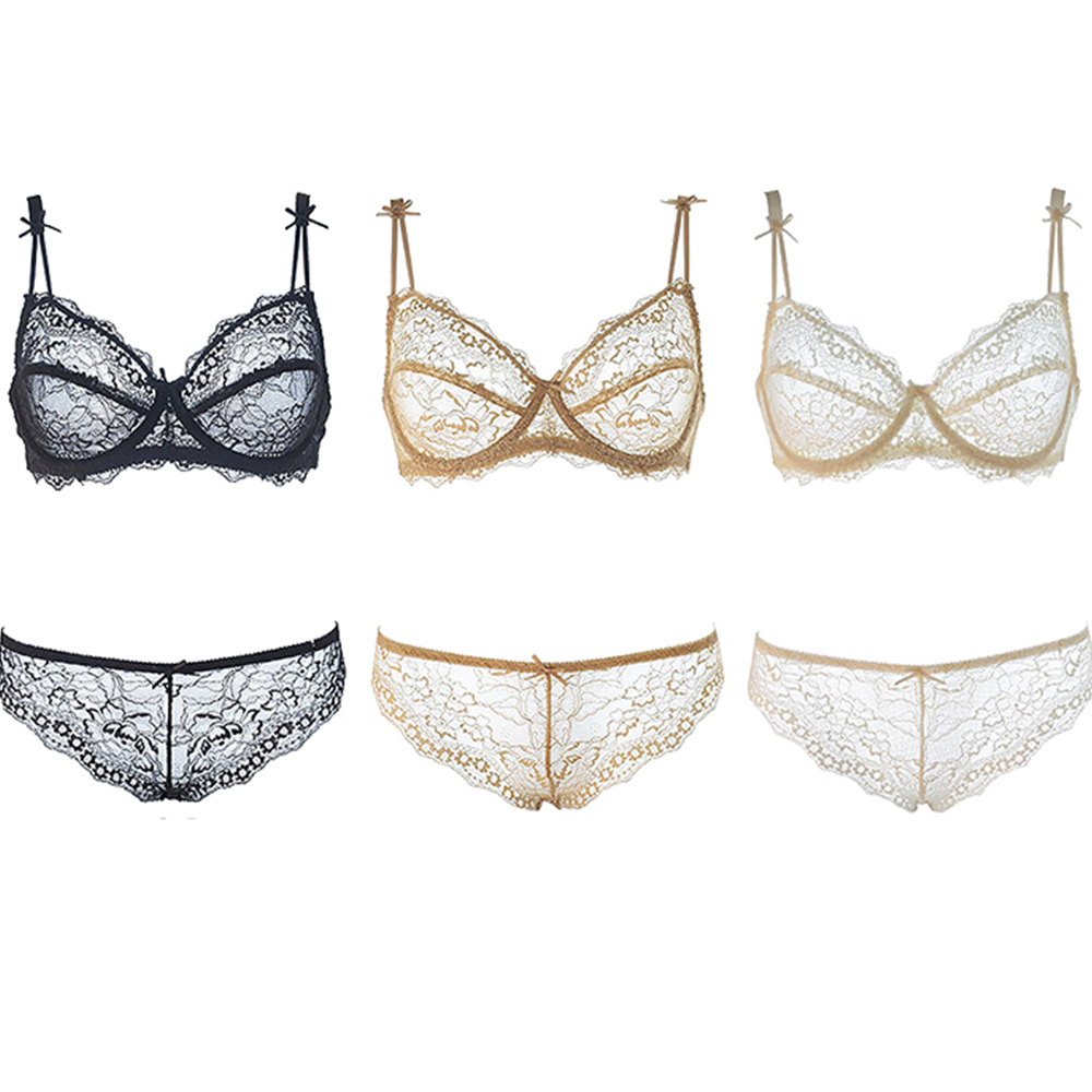 New BH   Sets   Size 32 34 36 38 40 42 A B C D Cup Ultra-thin transparent sexy lace embroidery   bra     sets   half cup underwear for women