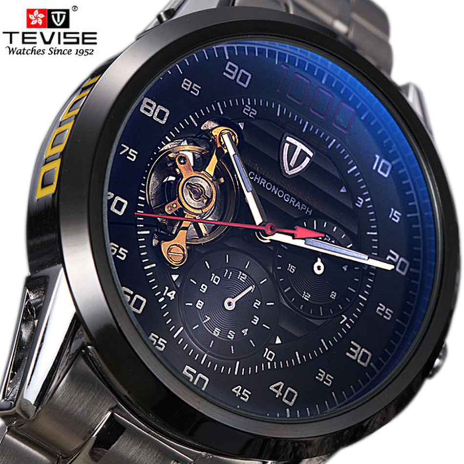 Brand TEVISE Men Watch Automatic Mechanical Watches Big Dial Clock Mens Wristwatches Military Steel Watches Relogio Masculino tevise men watch black stainless steel automatic mechanical men s watch luminous waterproof watch rotate dial mens wristwatches