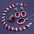 925 Sterling Silver Red Creado Rubí Topacio Blanco Sistemas de La Joyería Para Las Mujeres Pendientes/Anillos/Pendiente/Collar/pulseras Caja de Regalo Libre