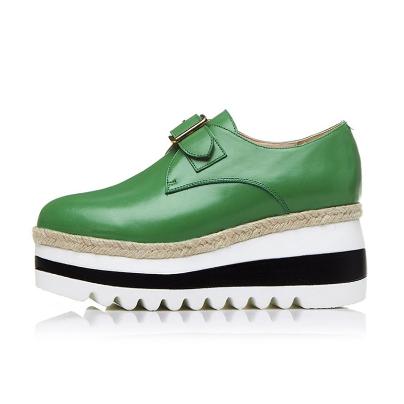Vache Cuir Loisirs Chaussures vert Kriywen Parti En Femme Pompes Printemps Mujer Femelle Coins Boucle Zapatos Noir Lady forme Plate Femmes dwqqBfFSxE