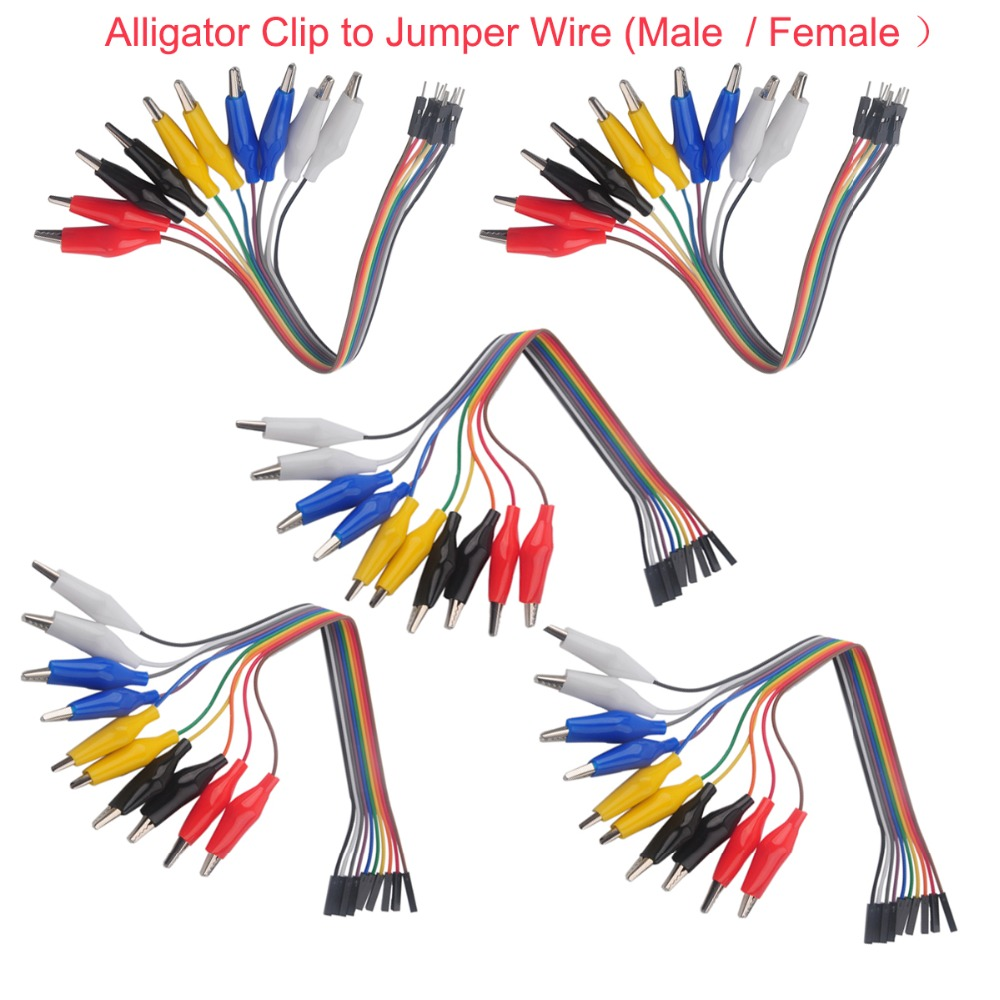 5Set Alligator Clip To Dupont Wire 10pin 20cm Male / Female, Crocodile Clip For Test Lead,For Arduino Raspberry Pi 10Pcs/Set
