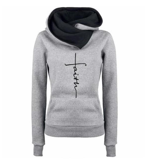 Women Winter Sweatshirts Cotton Printing Loose Hoody Street Thick 2018 New Fashion Faith Printed Kawaii Hoodies Sweet Pullovers