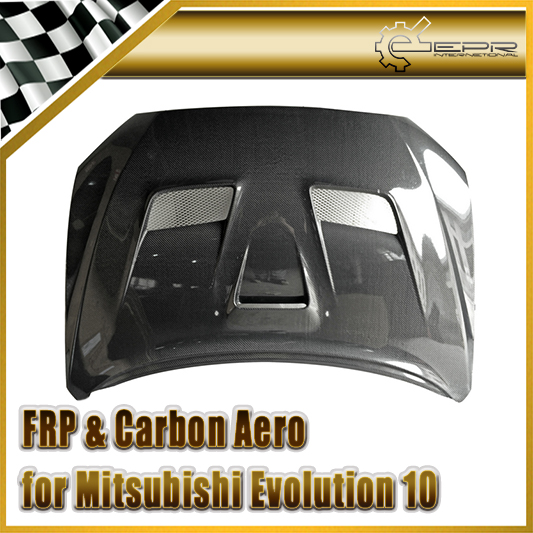 Car-styling For Mitsubishi Evolution EVO 10 Carbon Fiber VRS System 1 Style Hood Glossy Fibre Engien Cover Racing Auto Body Kit car styling for honda civic fd 2006 carbon fiber steering wheel cover glossy fibre interior bearing circle racing auto body kit