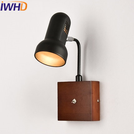 IWHD Angle Adjustable Arm Sconce LED Wall Lamp With Switch Iron Modern Wall Light Fixtures Home Lighting Wood Lighting Stairs top grade wood handcrafted swing arm light sconce led wall lamp nordic style home decoration lighting e27 black with switch