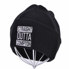 Men and Women Letter Straight Outta Compton Knitted cap Wool Acrylic Caps Europe and The United States Style Hip-Hop Beanie Hat stylish letter and leaf shape embellished christmas beanie for men and women