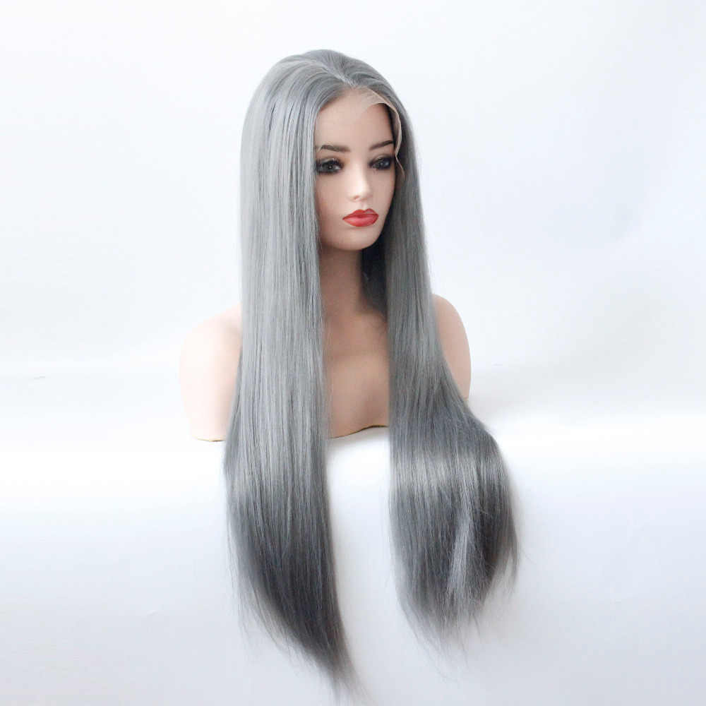 Бесклеевой синтетический кружевной передний прямой парик для черных женщин темно-серый кружевной передний парик