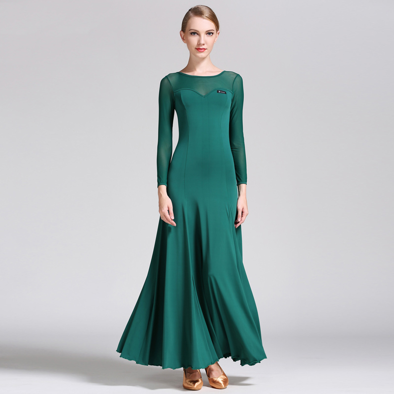 Standard Ballroom Dance Dress Women Lady Milk Silk Long Sleeve Led Ballroom Dancing Dresses Waltz Flamenco Practice Wear DN1237