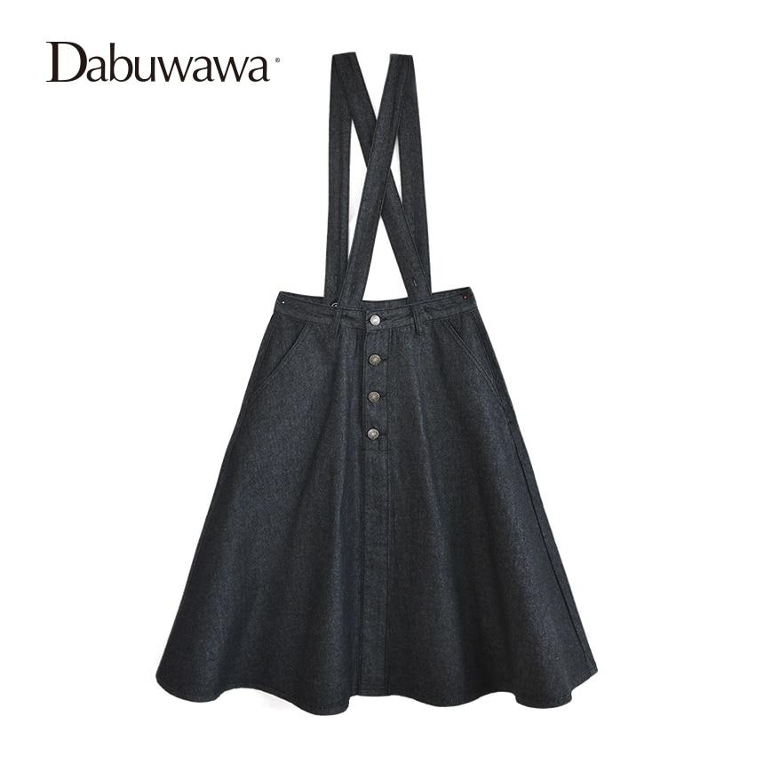 Dabuwawa Black Spring Women Denim Skirt Office Lady Overalls Fashion Vintage Suspender Skirt Casual A Line Midi Skirt dabuwawa black winter high waist zipper a line skirt ladies casual streetwear mini skirt short suspender skirt d16ddx011