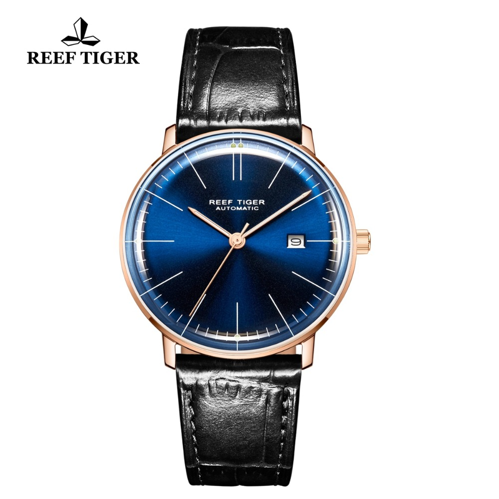 2018 Reef Tiger/RT Men Luxury Brand Automatic Watch Leather Strap Blue Dial Rose Gold Casual Watches RGA8215