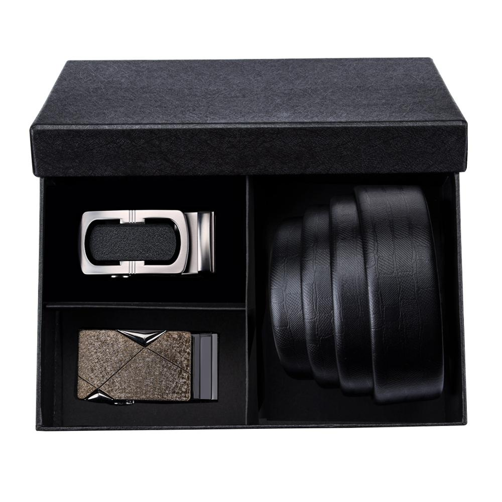 PB 08 Barry.Wang 2018 Best Recommends Mens Belts Sets Within Black Gift Box Genuine leather luxury Strap Male Belts For Men