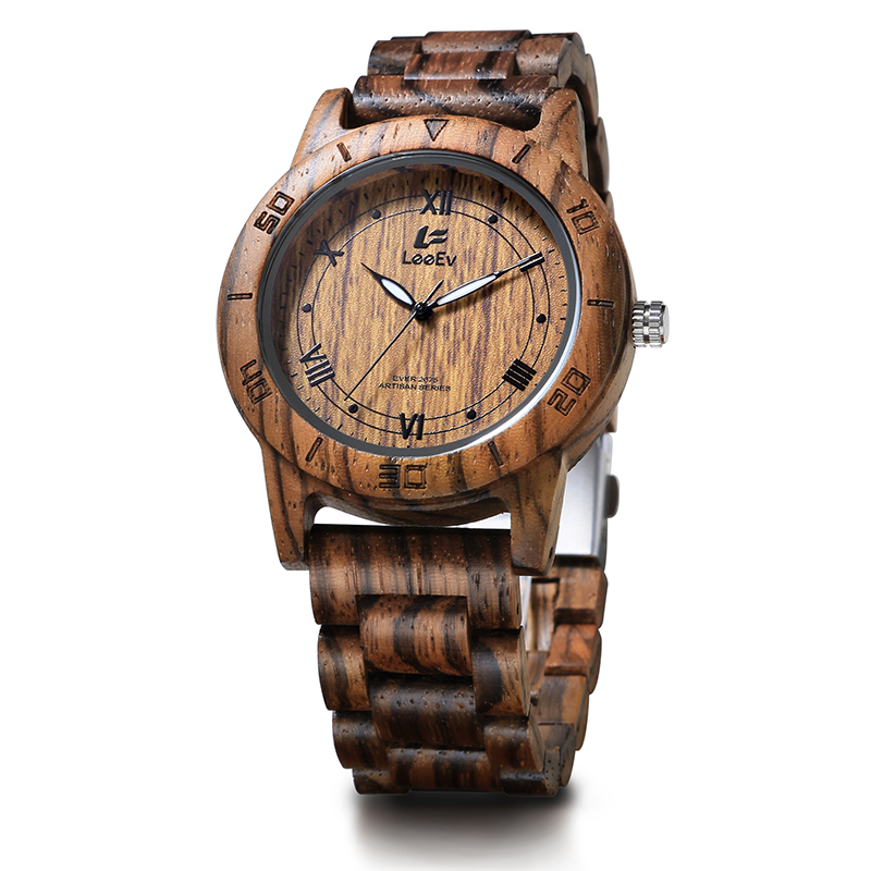 LeeEv EV2075 Mens Wood Watch for Men HandCrafted Zebra Sandal Wood Vintage Wooden Watches Mens Gifts