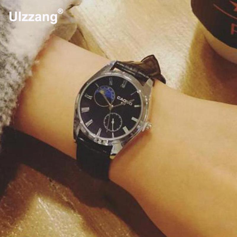 Classic Dress Wrist Watch Leather Business Men Women Wristwatches Black Brown Quartz Analog Watch Clock