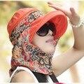 Sombrero Femenino del Sombrero Del Sol Del Verano Al Aire Libre de Gran Sombrero de Playa Visera Anti UV Cara Plegable