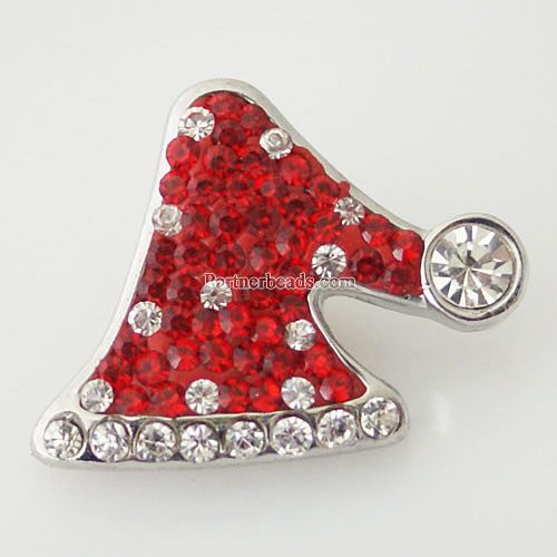 20MM christmas Gifts candy snap Silver Plated with Enamel Rhinestones Christmas Hat snaps jewelry KB4378