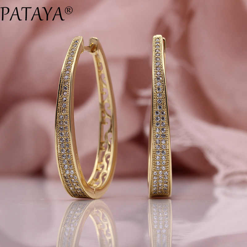 PATAYA New Irregular Big Circle Earring Women Fashion Jewelry 585 Rose Gold White Micro Wax Inlay Natural Zircon Dangle Earrings