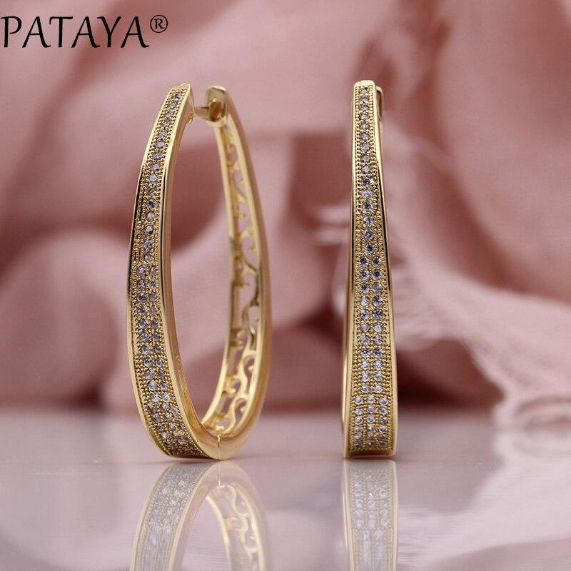 PATAYA nouvelle irrégulière grand cercle boucle d'oreille femmes bijoux de mode 585 or Rose blanc Micro cire incrusté Zircon naturel boucles d'oreilles