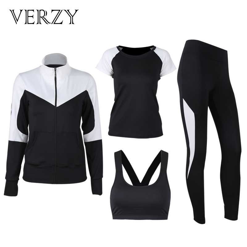 VERZY 2018 New Solid Black and White Yoga Set Women Plus Large Size Hoodie+Bra+T-shirt+Leggings Running Gym Fitness Sports Suit women s stunning solid color t shirt and pleated spaghetti straps dress set