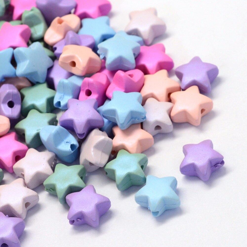 50pcs Opaque Star Acrylic Loose Beads For Kids Fun Jewerly Making DIY Craft