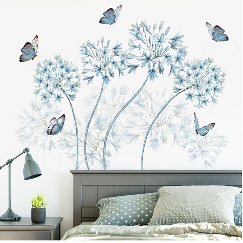 Niebieskie Kwiaty Motyl Naklejki ścienne Home Decor Zagłówek Płyta ścienna Naklejka Na ścianę Tapeta Tło Dekoracyjne Naklejki Ozdobne Butterfly Wall Stickers Wall Stickerwall Board Aliexpress